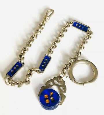 Antique Art Deco Silver Plated And Blue Glass Watch Chain And Spinner Fob