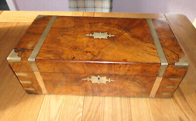 Antique Flame Walnut Campaign Writing Slope With Brass Banding And Secret Drawer