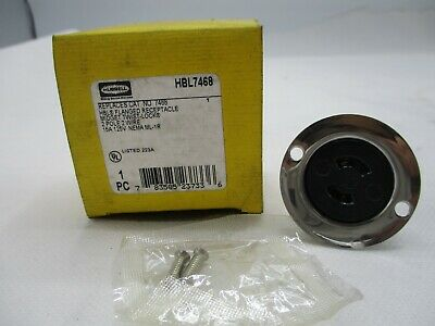 New Hubbell Hbl7468 Twist Lock Plug Flanged Receptacle 2P2W 15A 125V