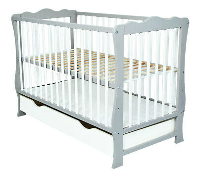 Baby Cot Bed / Junior bed / Toddler with Drawer + mattress GREY/WHITE color