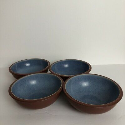 Denby Langley Juice Berry Set of 4 Soup Cereal Bowls Blue Terra Cotta 7""