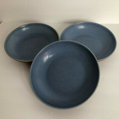 Denby Langley Juice Berry Set of 3 Individual Pasta Bowl Blue Terra Cotta 8 5/8""