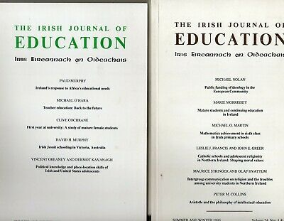 Two Copies of The Irish Journal of Education,Vol 24, 1990, & Vol 25, 1991
