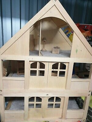 Great value traditional   3 Storey  wooden dolls house and furniture.