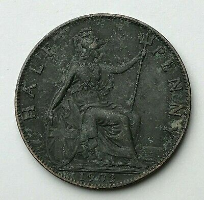 Dated : 1902 - Half Penny - 1/2d Coin - King Edward VII - Great Britain