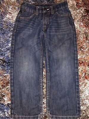 Boys Size 4 Blue Paper Denim & Co. Pants Adjustable Waistband With Pockets Cotto
