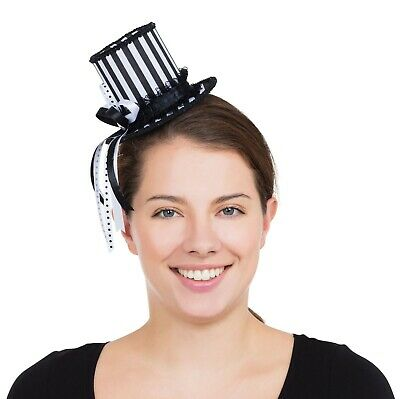 Ladies Mini Harlequin Striped Top Hat with Hair Clips Jester Circus (BH674)