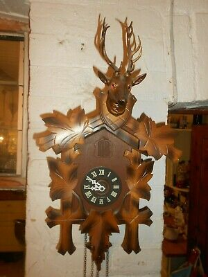 Vintage German Black Forest Wooden Cuckoo Clock Stags head ornament