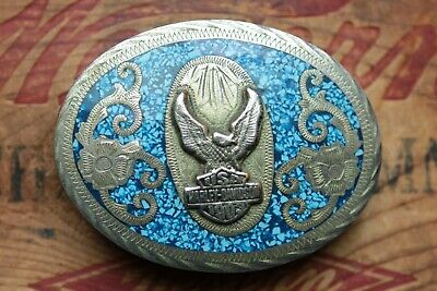 Vintage Hand Made in Mexico Eagle Motorcycle Shield Bikers Belt Buckle