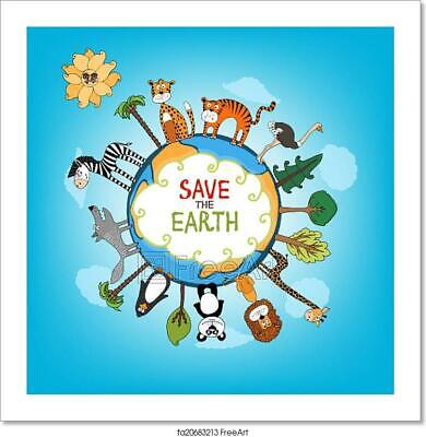 Save The Earth Concept Illustration Art Print Home Decor Wall Art Poster - D