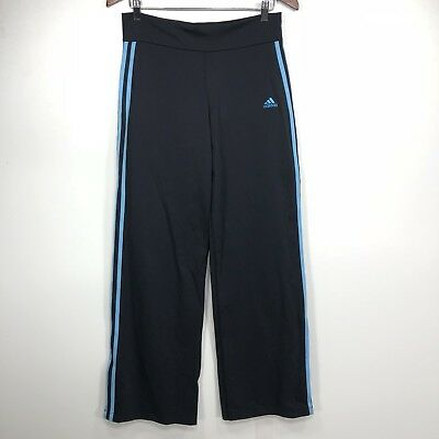 Adidas Track Pants Large Womens Black Blue Stripes Dead stock 2005 Athletic  B32