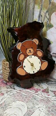 Vtg teddy bear clock rustic wood plaque wooden tree slab battery wall clock art