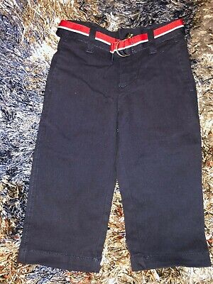 Baby Girls 12 Months Navy Blue Pants By Tommy Hilfiger Striped Matching Belt Ela