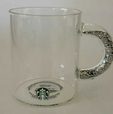 Starbucks 2019 Holiday Christmas Glass Mug w/ Glitter Handle 12 Ounce Brand New!