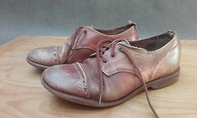 Vintage brown leather boys shoes  (1950s)