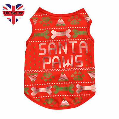 Small Pet Dog Cat Christmas Clothes Puppy Xmas Jumper Costume Outfit Vest UK