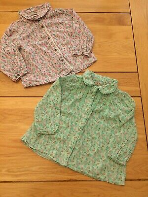 Baby Girls Ditsy Floral Blouses Shirt Mint Green & Pink Bundle 12-18 months Next