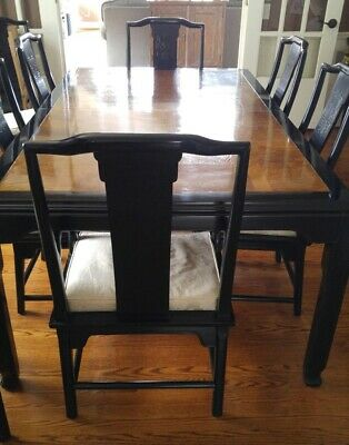 Century Chin Hua Dining Room Table with 2 leaves, 2 arm chairs & 6 side chairs.