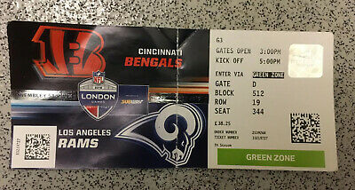 NFL Wembley Cincinnati Bengals  v  LA Rams TICKET 27/10/2019