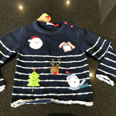 Bnwt Baby Girl Or Boy Christmas Jumper Navy Super Cute 12/18m Cotton Knit