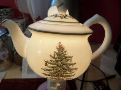 """Spode Christmas Tree Teapot Night Light Porcelain 6"""" X 5"""" Pre-Owned Excellent"""