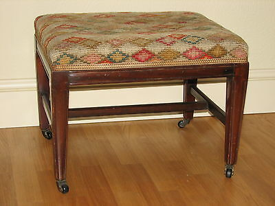 Early Victorian Mahogany Stool on Castors, upholstered, c. 1840