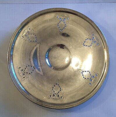 Vintage Silver Plated Footed Platter Dish Embossed Pattern Marked L 1708 EPNS