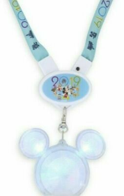 Disney Parks Mickey Icon Light Up Glow Necklace Crystal Mickey 2019 Lanyard