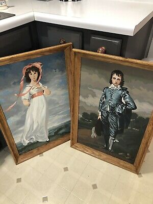 Vintage Paint by Number Blue Boy and Pinkie Pinky 31 x 21 Framed (Seen in Joker)