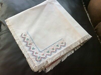 """Handmade Embroidered and beaded table cloth. 17"""" x 17""""."""