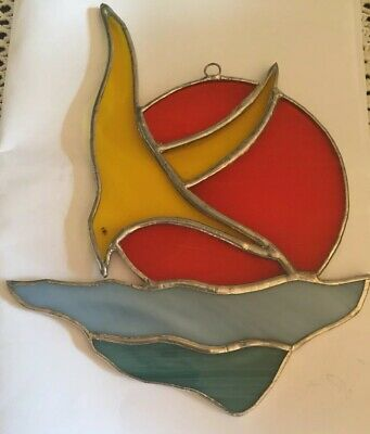 "6"" Stained Glass Sea Gull Beachy Sun Catcher."