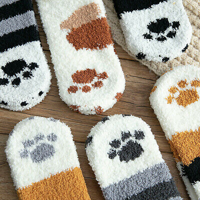 Women Girl Winter Warm Thermal Thicken Cat Claw Coral Fleece Sleep Ankle Socks