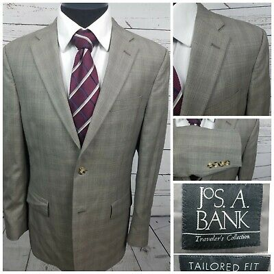 Jos A Bank Sport Coat Tailored Fit Traveler  100% Wool Gray Plaid Check Sz 40R