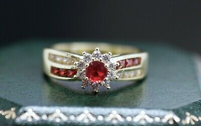 Vintage Jewellery Ring Ruby White Sapphires Antique Deco Jewelry R 9