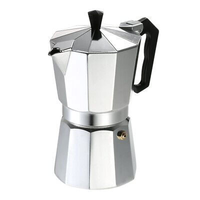 Stovetop Espresso Maker Coffee Pot Polished Silver Aluminum Octagon Shape EH