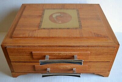 Vintage WOOD MARQUETRY Jewelry Valet BOX w/ Inlaid Blue Marlin Fish Design MCM