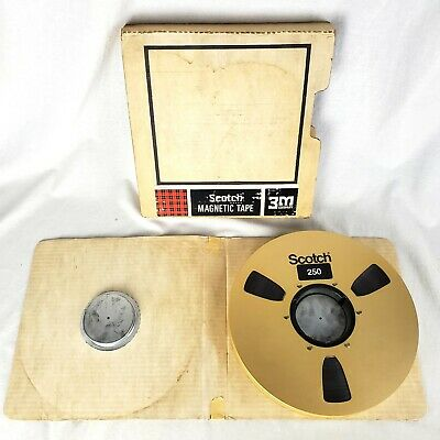 "Scotch 250 3M Professional Recording Tape 10 1/2"" x 1"" Gold Metal Reel To Reel"