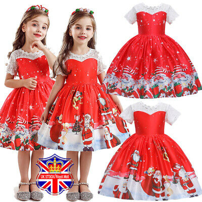 Girls Kids Christmas Print Swing Dress Santa Xmas Party Costume Tutu Dresses AU