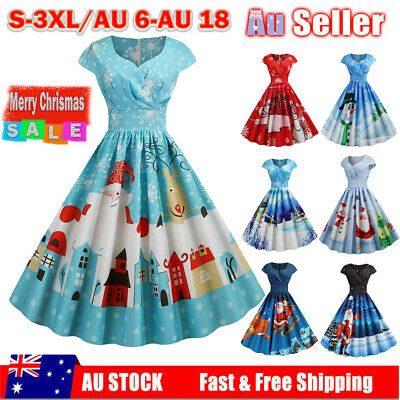 Christmas Womens Santa Claus Print Pleated Skater Dress Xmas Party Swing Dresses