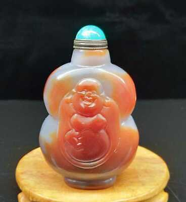 "4.13"" Natural Agate Jade Snuff Bottles Exquisite Hand-Carved Statue"