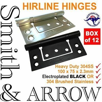 """DOOR HINGES HIRLINE 4"""" 100mm STAINLESS STEEL NON MORTICE BUTT BALL BEARINGS SS"""