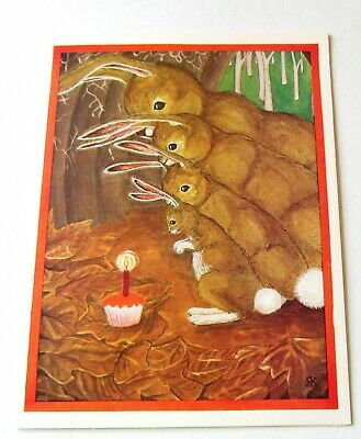 Vintage Greeting Card Four Rabbits with Birthday Cupcake by Robin Kleinrock
