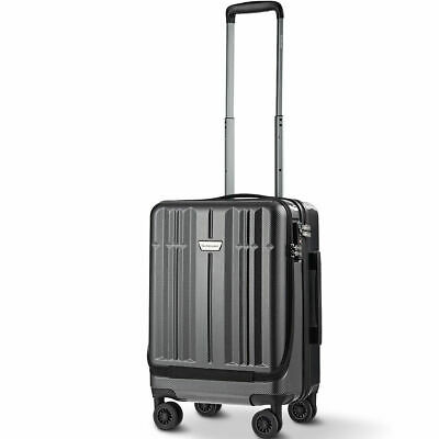 "20"" Front Pocket Carry On Luggage Business Trolley High Quality Double TSA Locks"