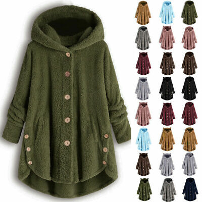 Womens Winter Warm Fleece Hoodie Hooded Coat Ladies Casual Long Jacket Plus Size