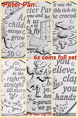 Isle Of Man Coins X6 Peter Pan 50p 2019 All Crocodile Nana Boys Tinkerbell Hook