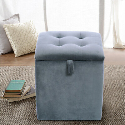 Ottoman Storage Box Velvet Upholstered Buttoned Dressing Table Stool Footstool
