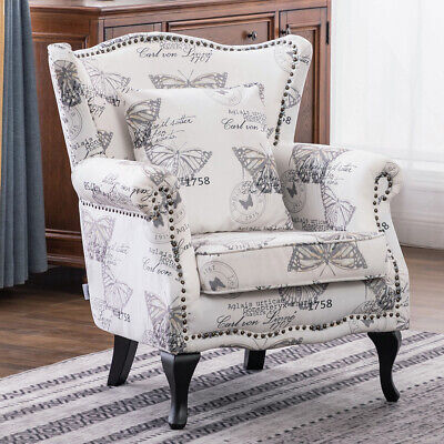 Wing Back Butterfly Pattern Fabric Armchair Queen Anne Style Studded Sofa Chairs