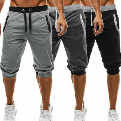 Mens Casual Cropped Gym Pants Sports Jogger Sweatpants Urban Trousers Shorts