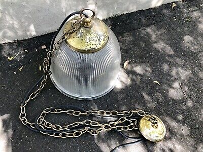 Vintage Ribbed Glass Church Lights Fluted Shades Brass Wired Chain