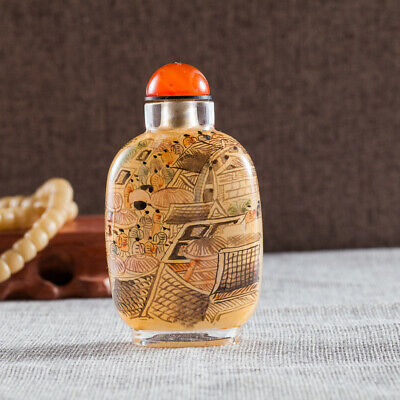 Inner Painting Snuff Bottle Chinese Antique Riverside Scene at Qingming Festival